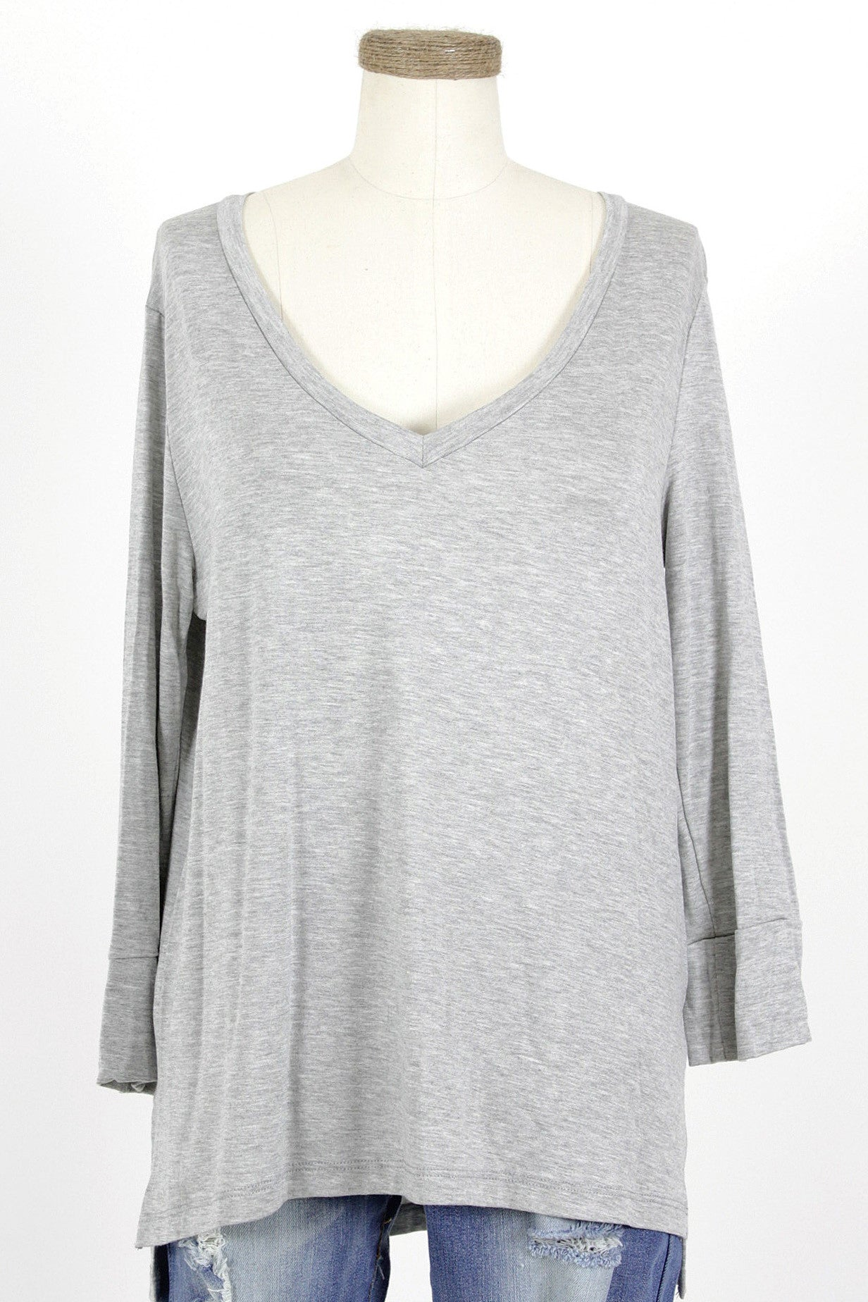 Modal 3/4 Sleeve V-Neck Top / Heather Grey