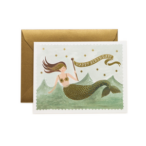 Vintage Mermaid Birthday Card / Gold Envelope