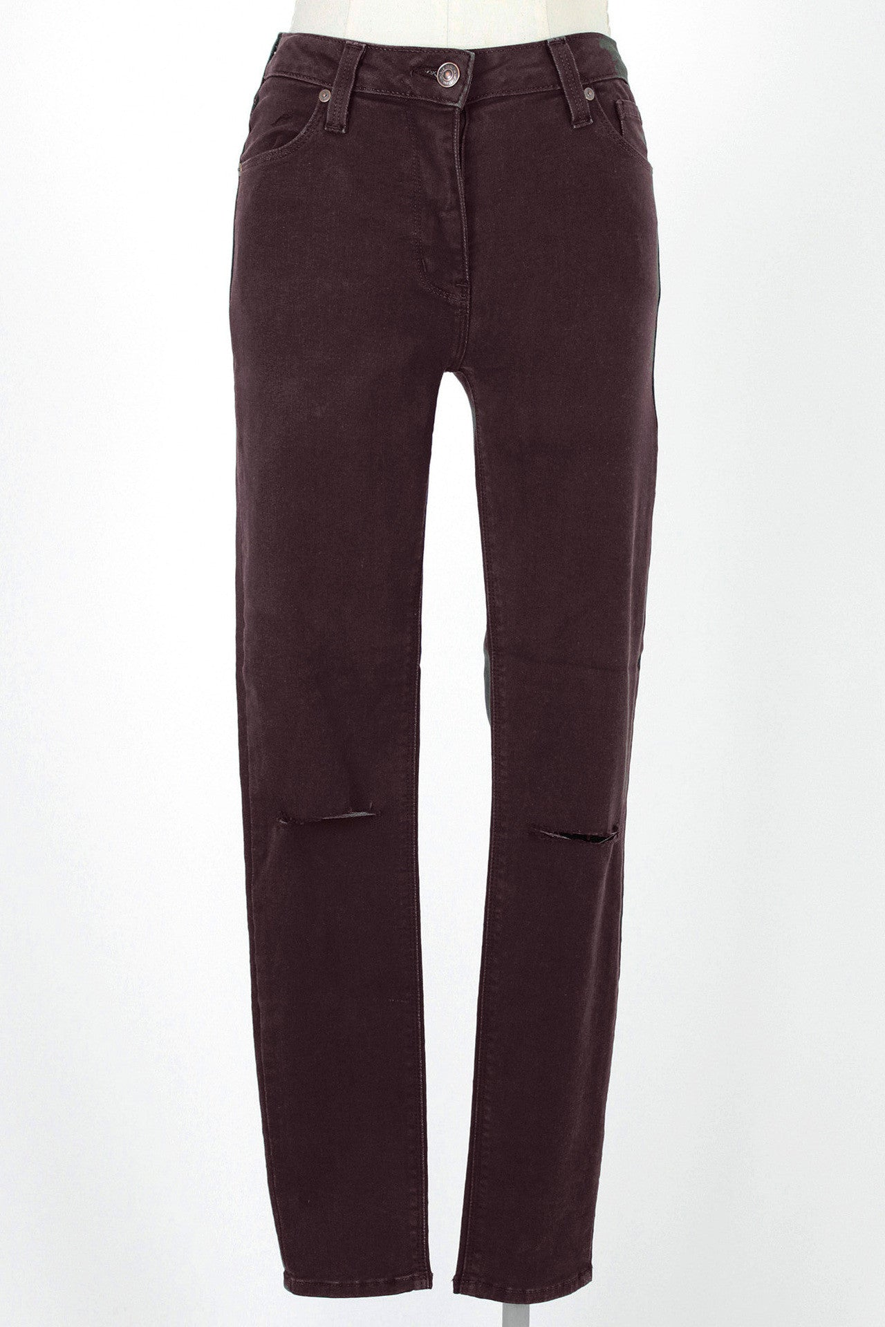 Slit Knee 9 inch High Rise Skinny Jean / Burgundy