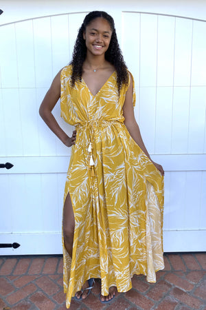 Ivory Palm Kimono Sleeve Maxi Dress / Mustard