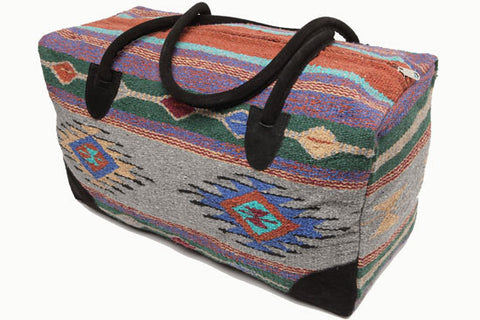 Mexican Blanket Duffle Travel Bag / Grey