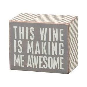 Wine Is Awesome Wood Block Sign / Grey