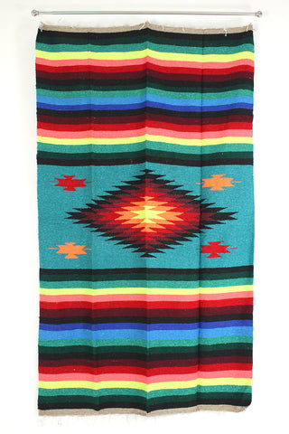Mexican Indian Diamond Blanket / Turquoise