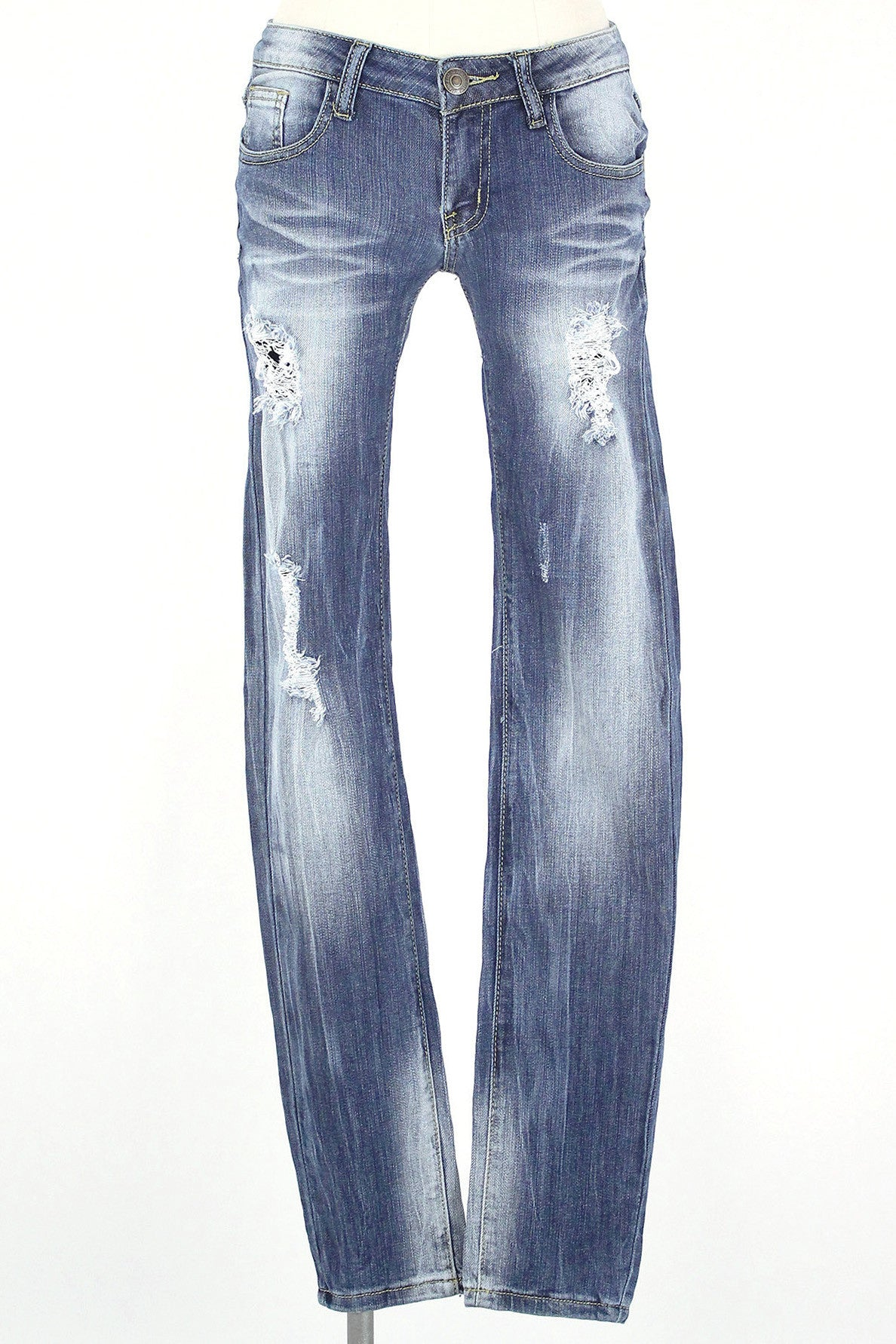 Slight Distressed Skinny Jean / Medium Wash