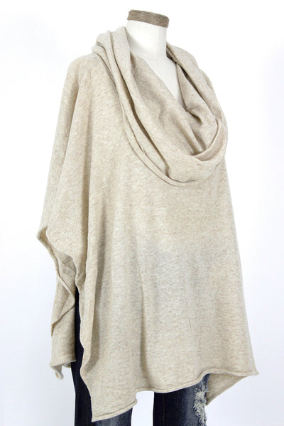 Cowl Neck Poncho / Natural
