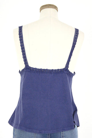 Crochet Trim Cotton Tank Top / Navy