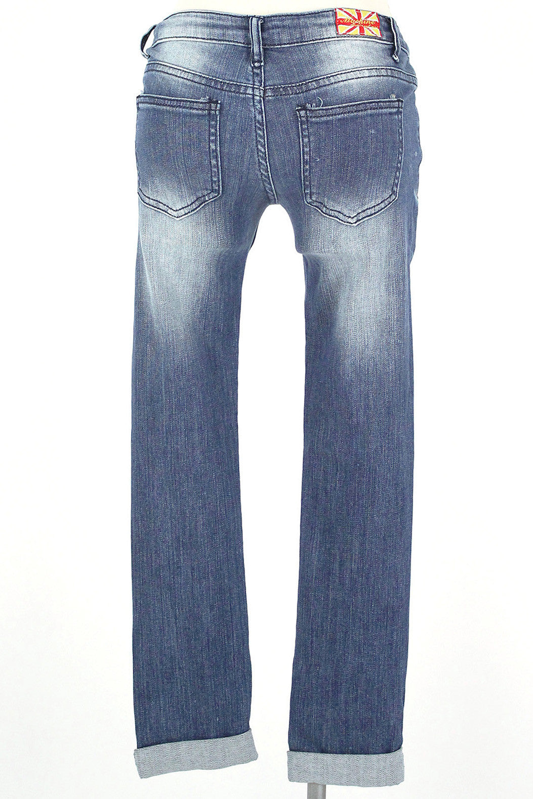 Distressed Crop Jean / Medium Wash