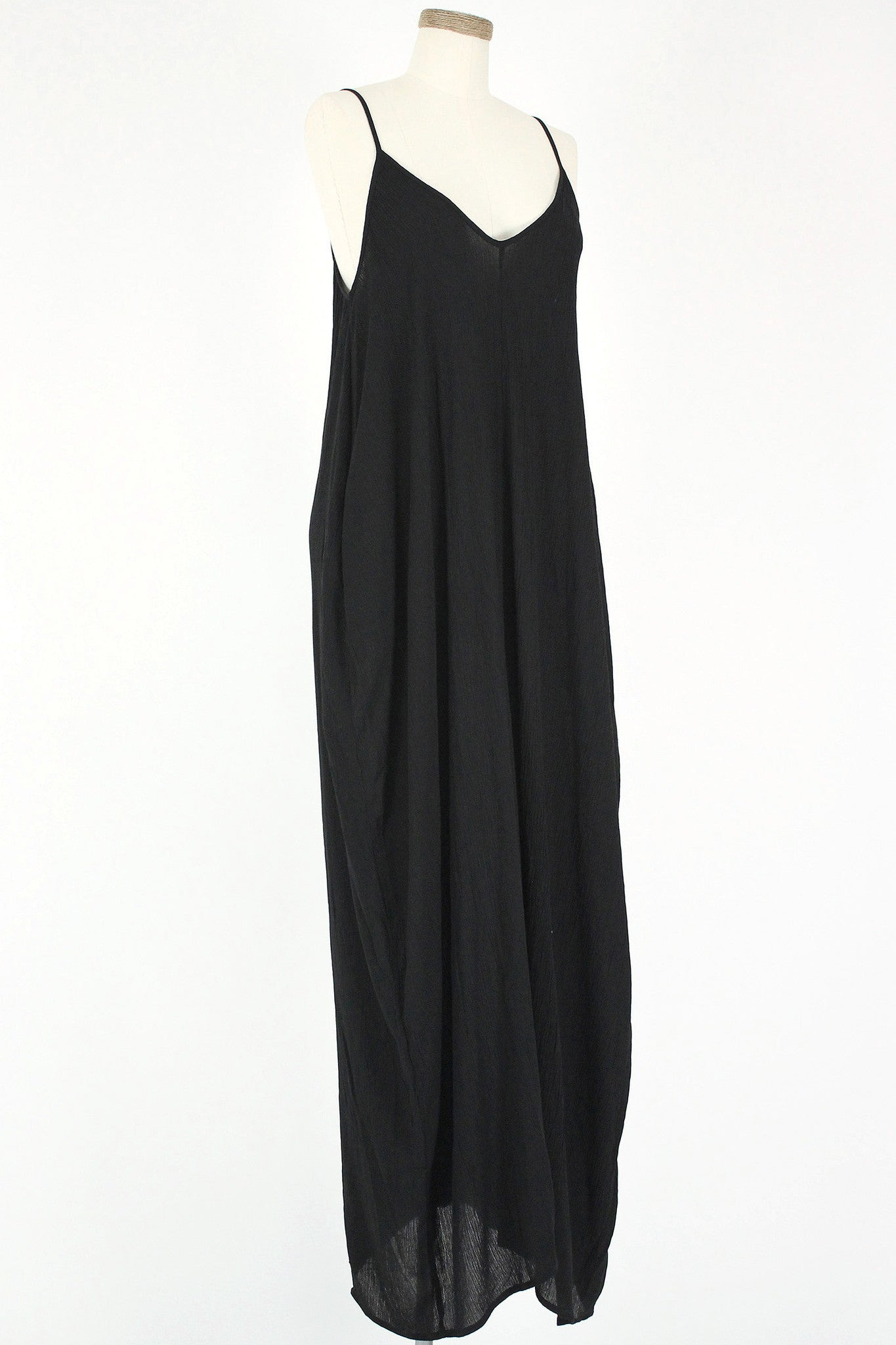 Gauze Coccoon Maxi Dress / Black