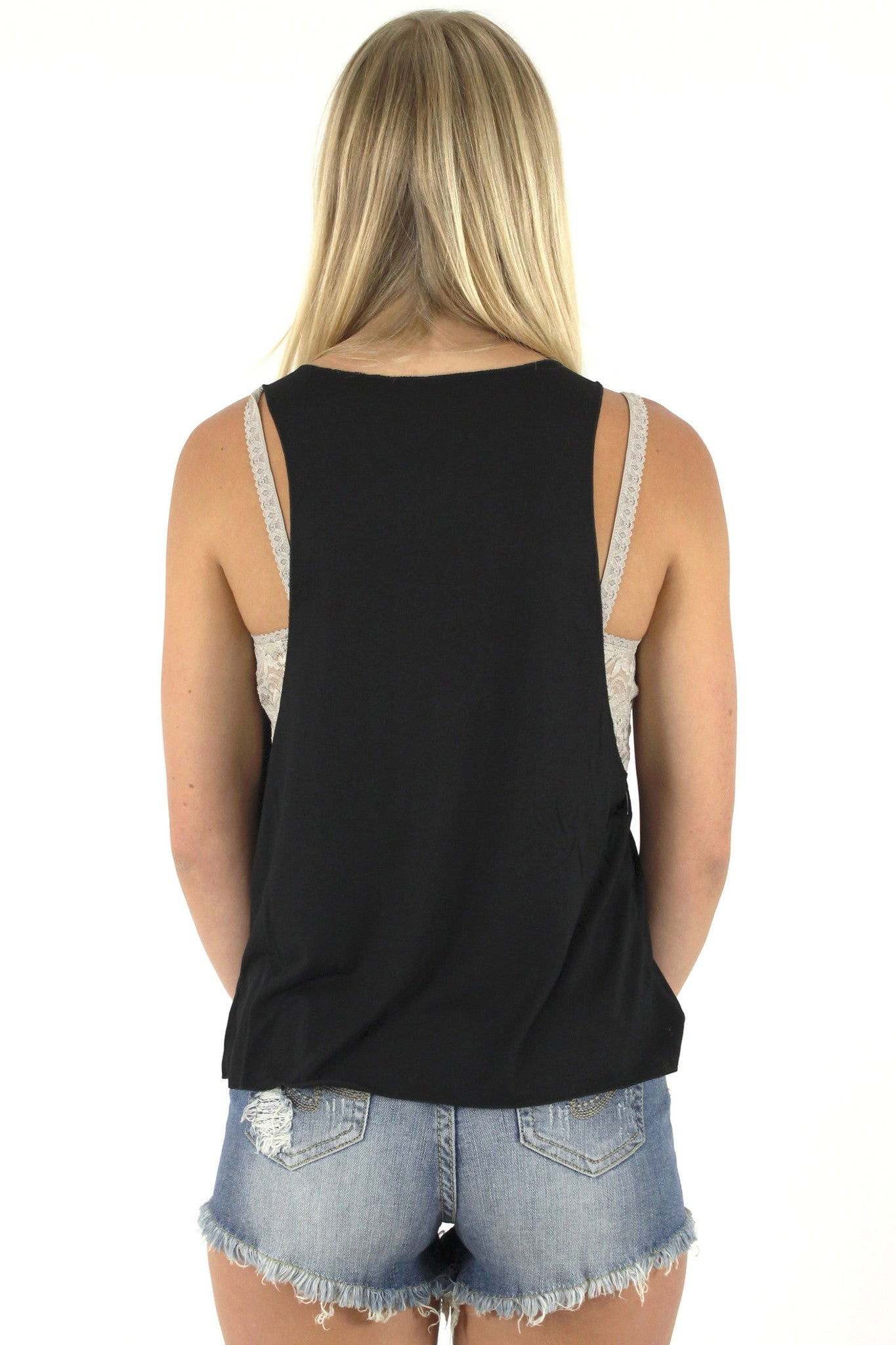 Gypsy Soul Loose Tank Top / Black