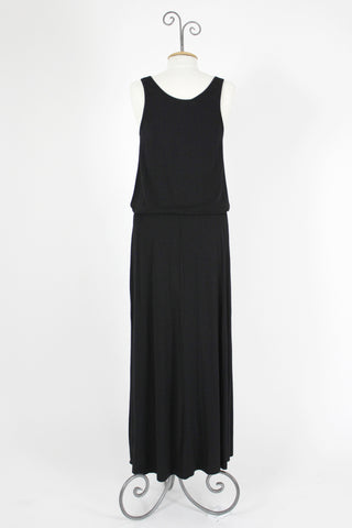 Jersey Button Front Maxi Dress / Black