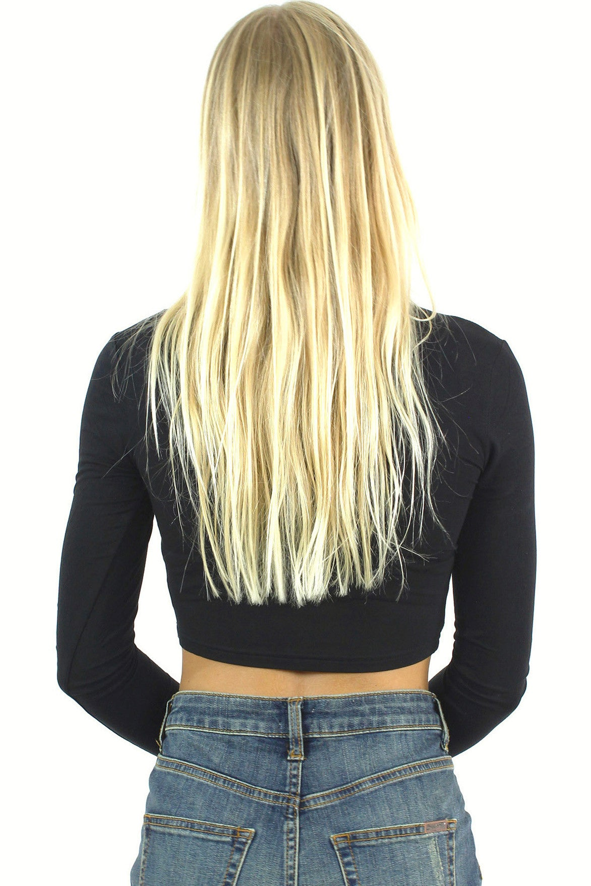 Long Sleeve Crop Top / Black