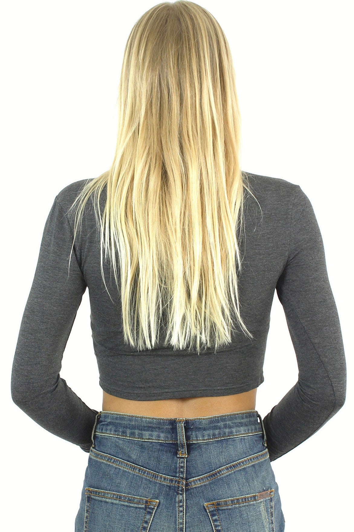 Long Sleeve Crop Top / Charcoal