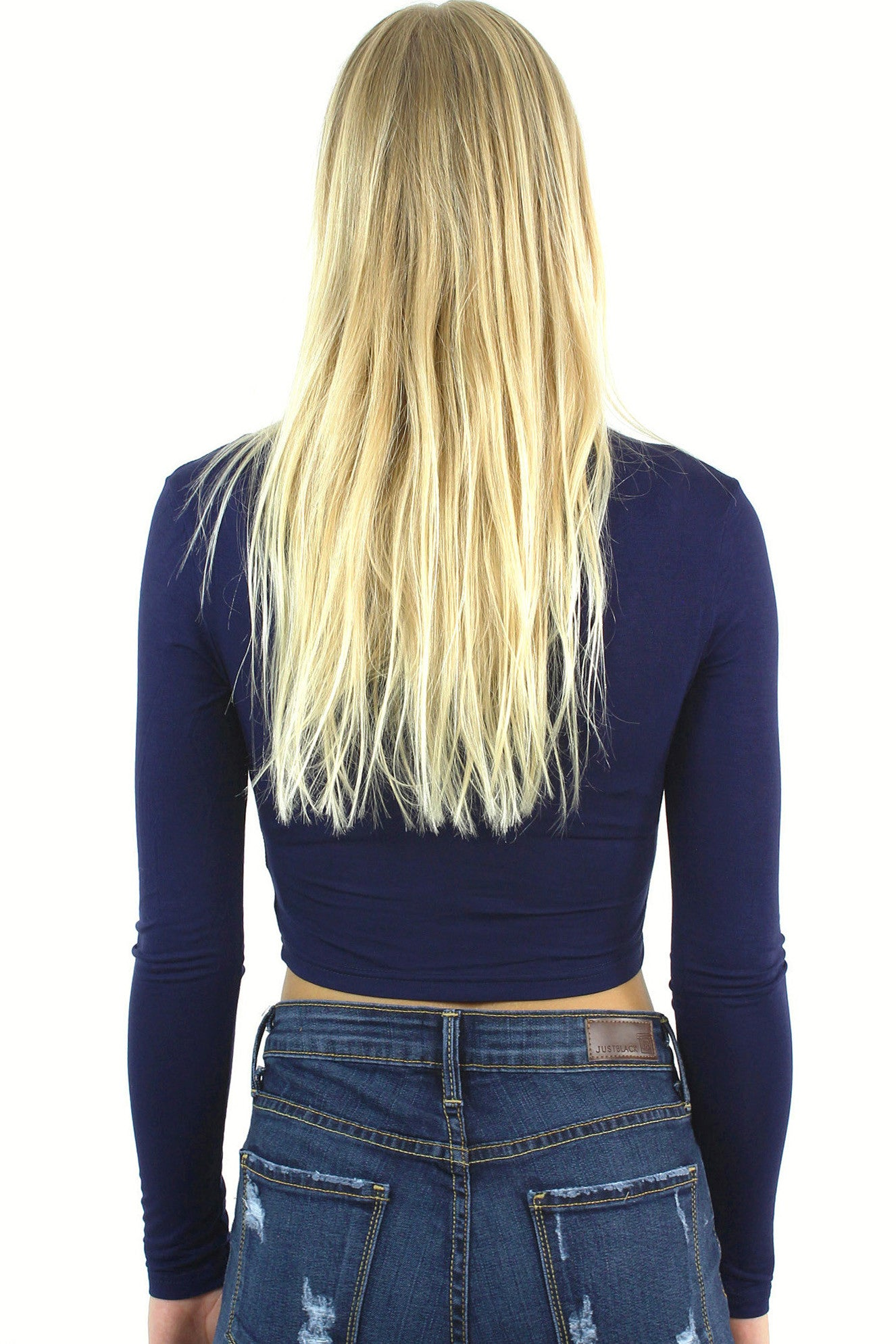 Long Sleeve Crop Top / Navy