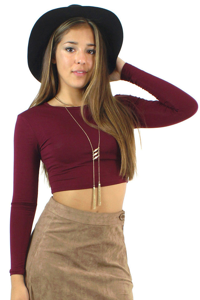 Long Sleeve Crop Top / Wine