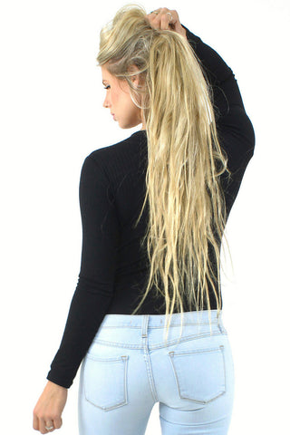 Long Sleeve Lace Up Bodysuit / Black
