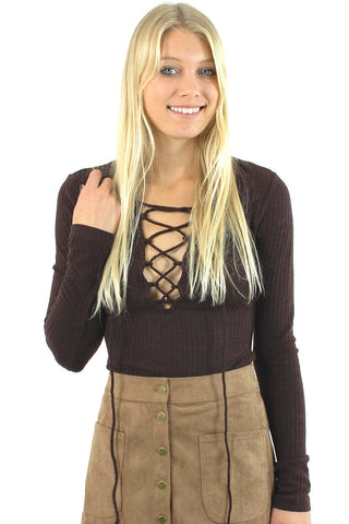 Long Sleeve Lace Up Top / Brown
