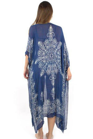 Medallion Print Long Shawl Cover Up / Navy