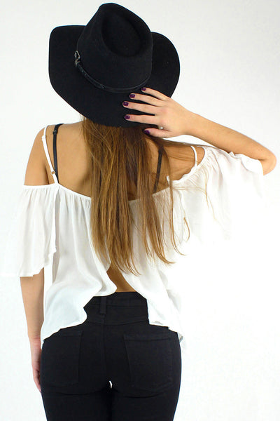 Open Back Button Up Open Shoulder Crop Top / White