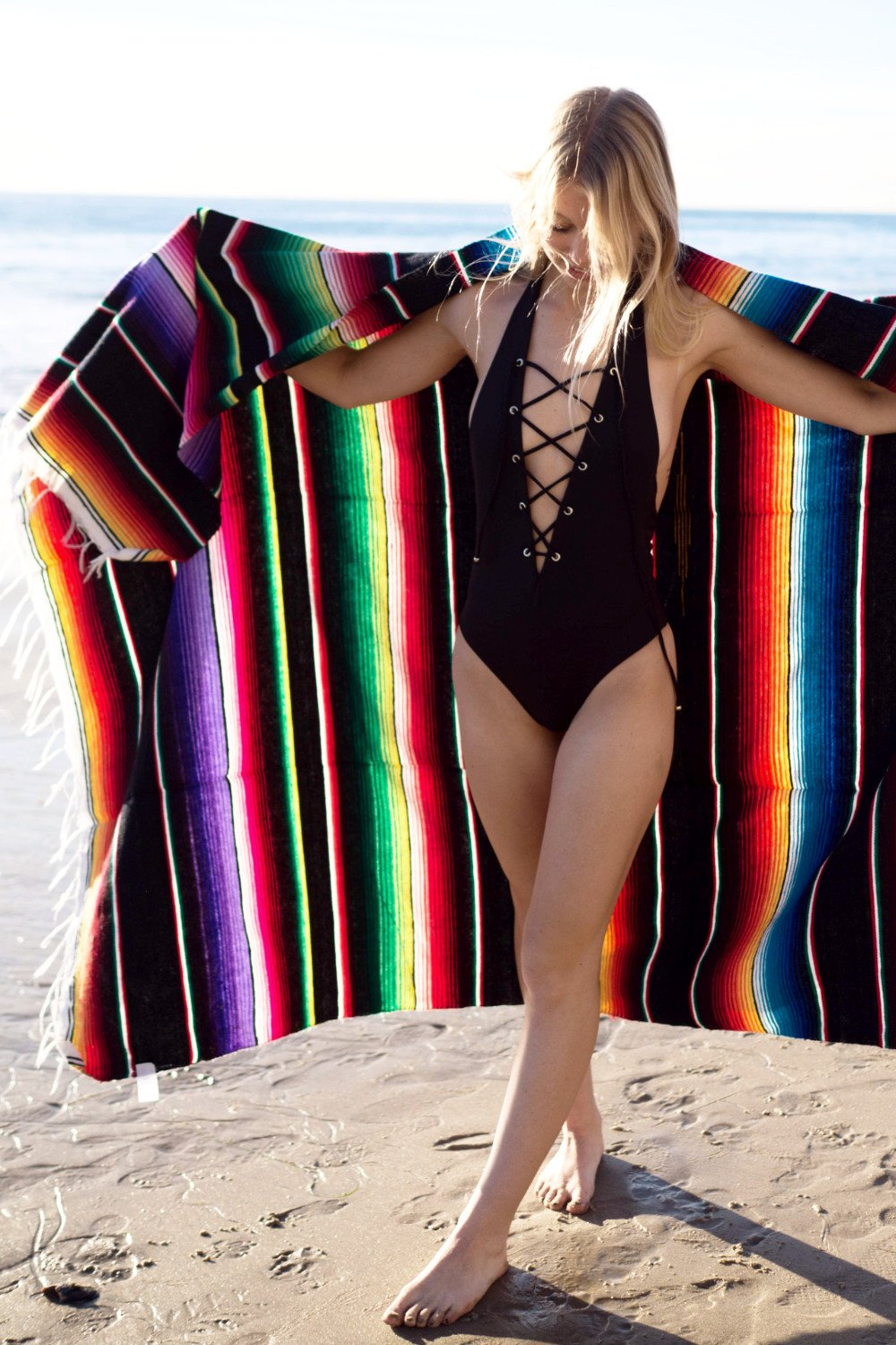 Serape Beach Blanket / Black