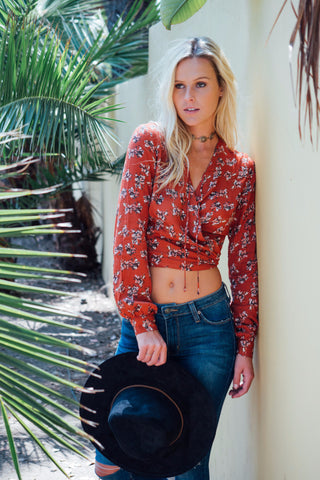 Long Sleeve Floral Wrap Crop Top / Brick