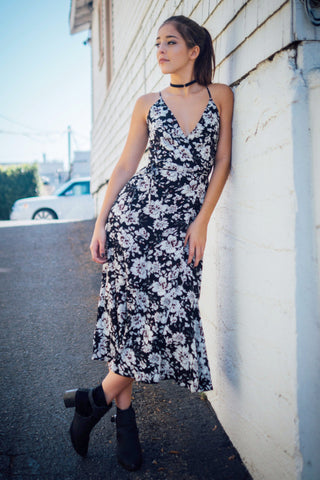 Floral Cami Wrap Dress / Black