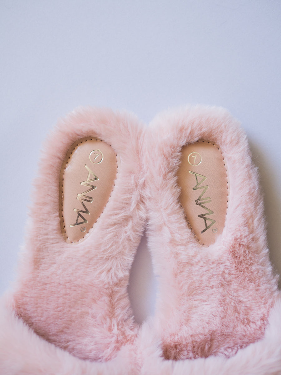 Soft Fur Strap Slipper / Pink