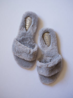 Soft Fur Strap Slipper / Grey