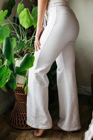 French Terry Drawstring Pant / Long Length / White