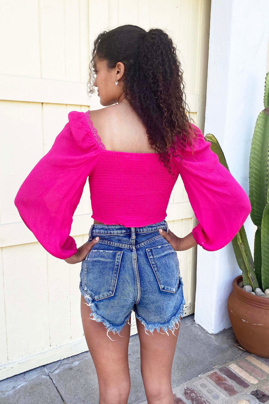 Peasant Sleeve Smock Bodice Top / Fuschia