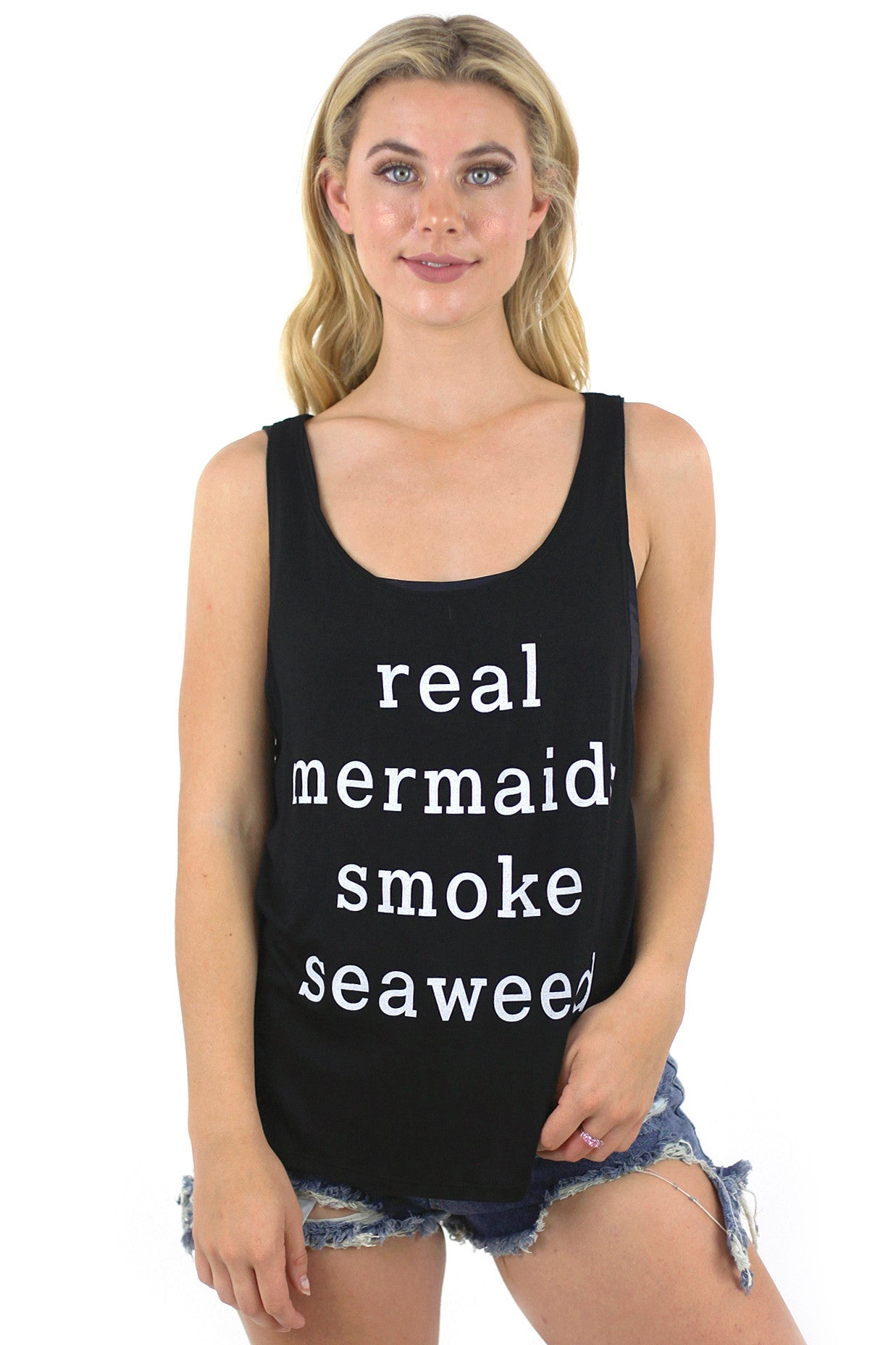 Real Mermaids Smoke Seaweed Tank Top / Black