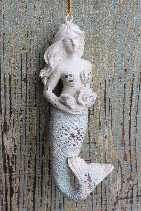Rustic Mermaid Ornament / Ivory