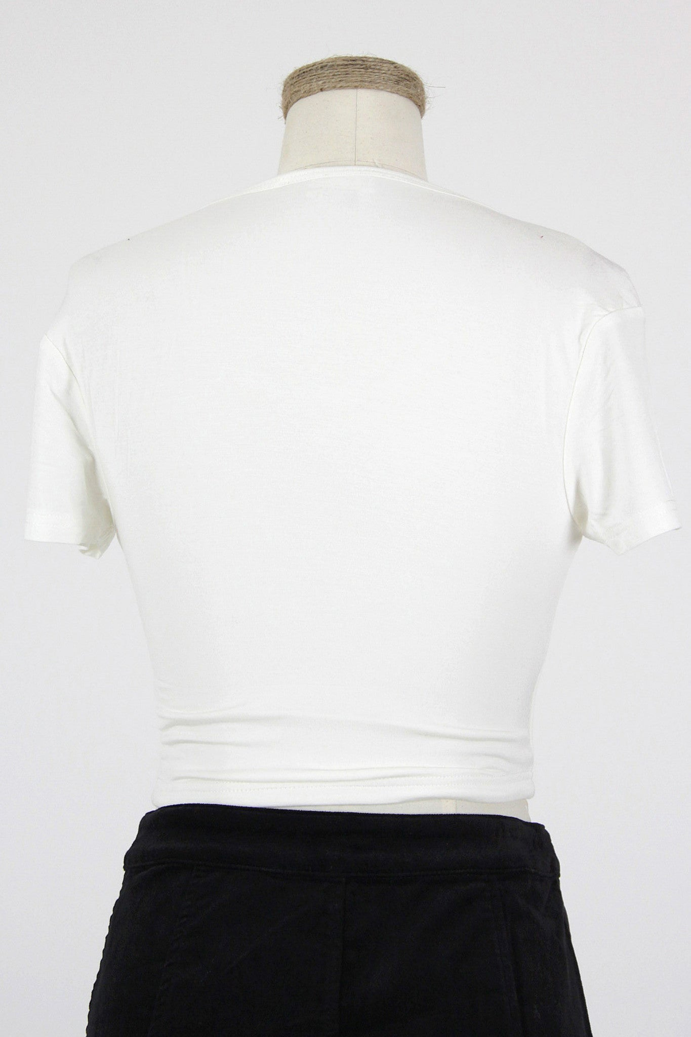 Short Sleeved Crop Top / Ivory
