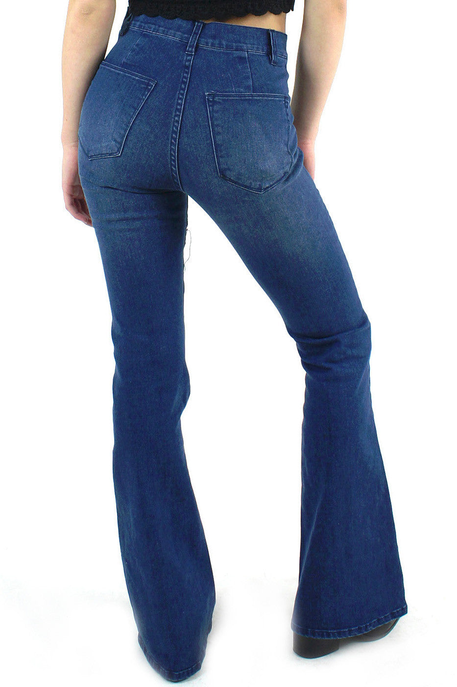 Side Zip Stretch Flare Denim Pant / Dark