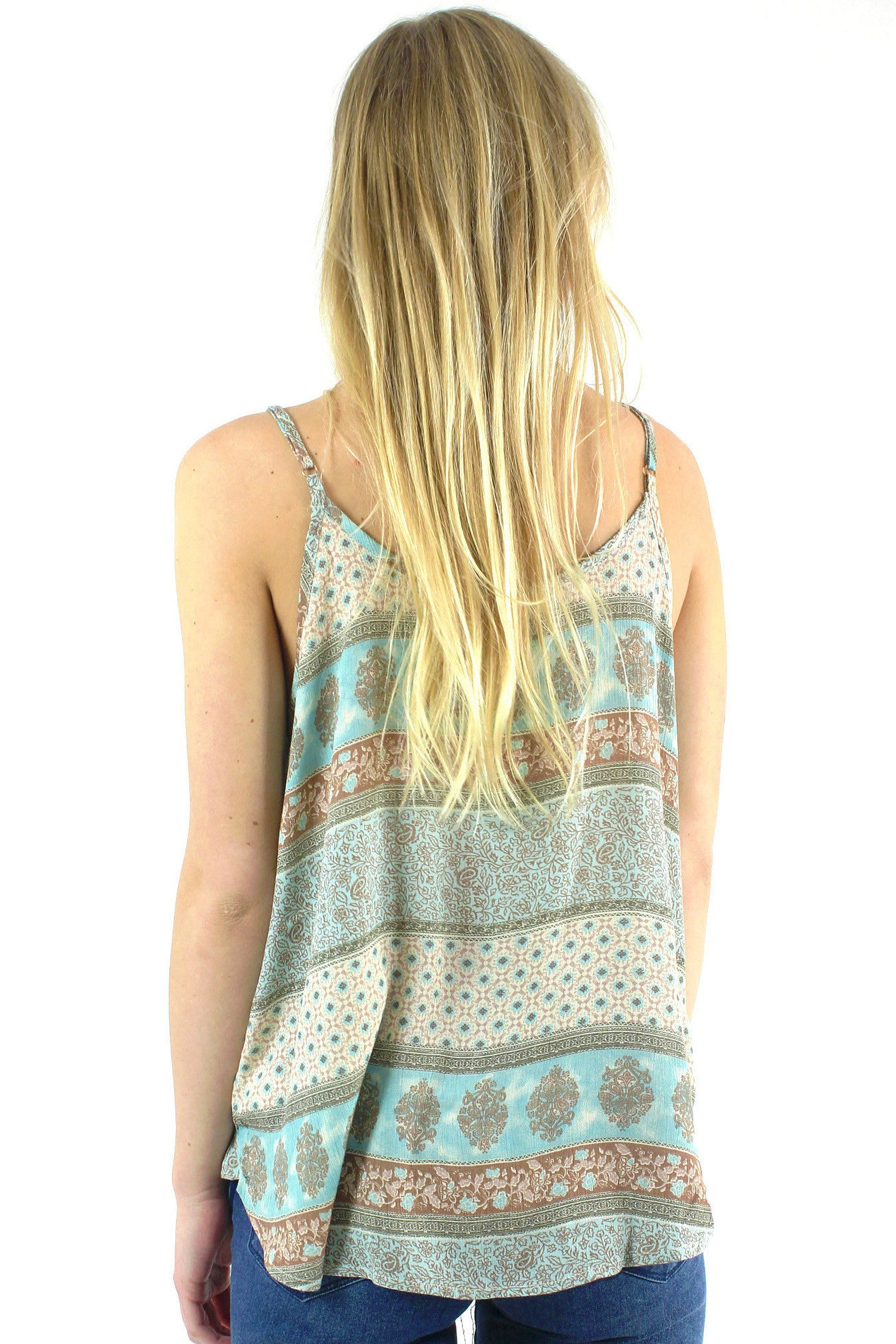 Stamp Printed Cross Front Cami / Mint
