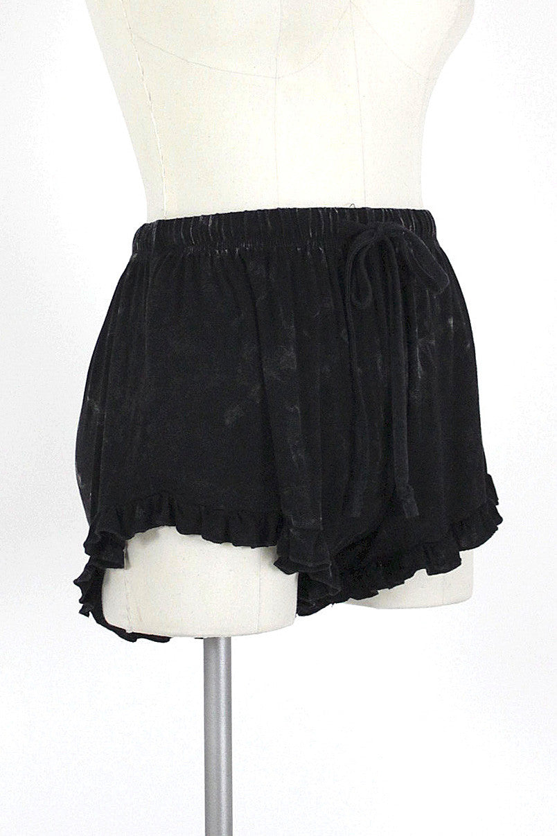 Stonewash Ruffle Lounge Short / Black