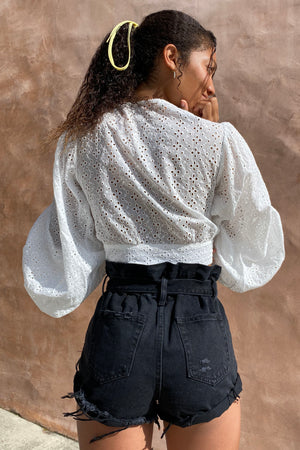 Eyelet Deep V-Neck Long Sleeve Crop Top / White