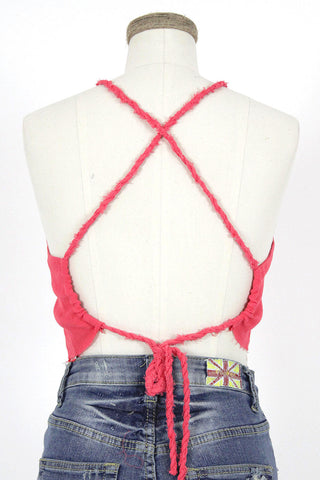Torn Edge Gauze Crop Top / Coral