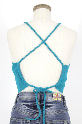 Torn Edge Gauze Crop Top / Jade
