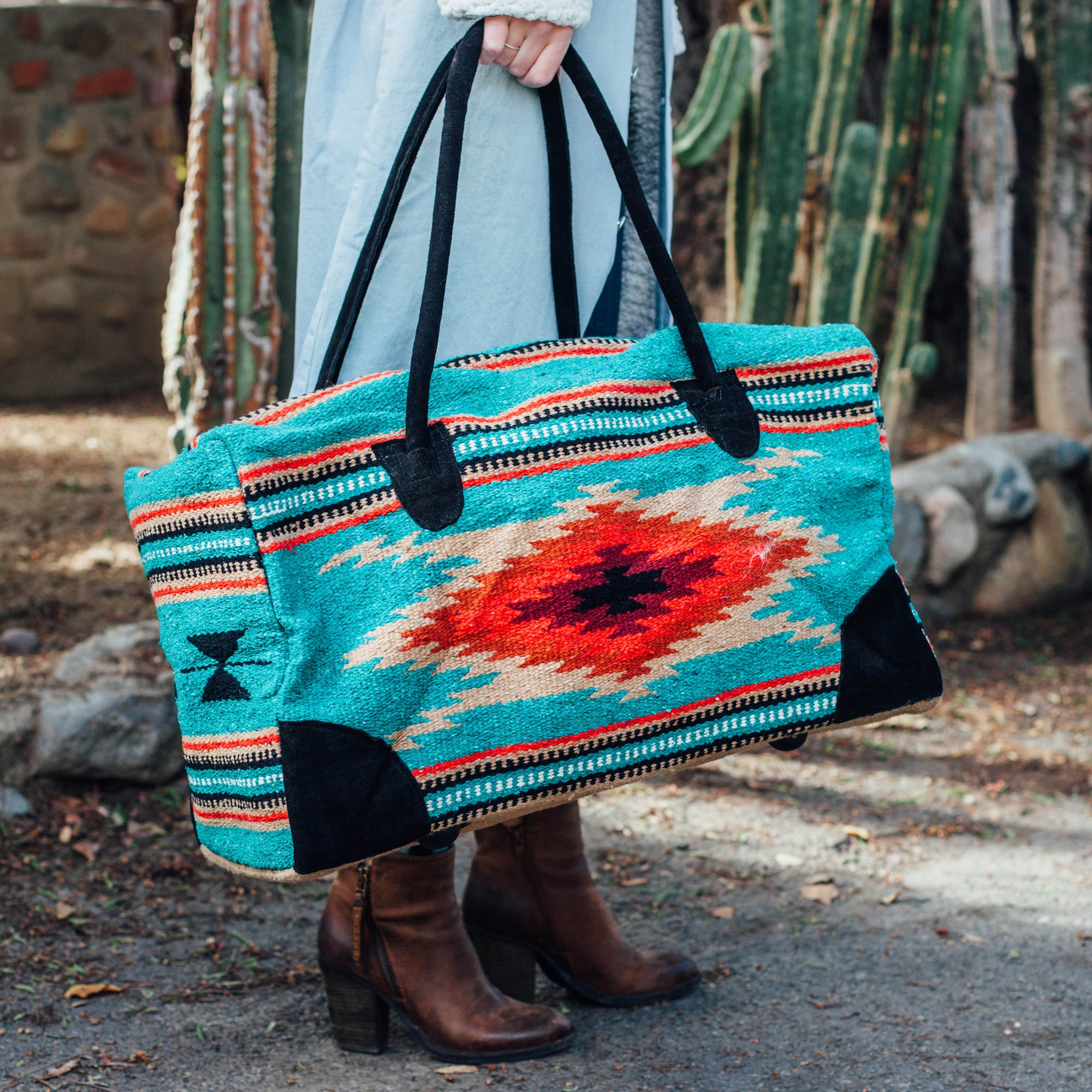 Mexican Blanket Duffle Travel Bag / Teal