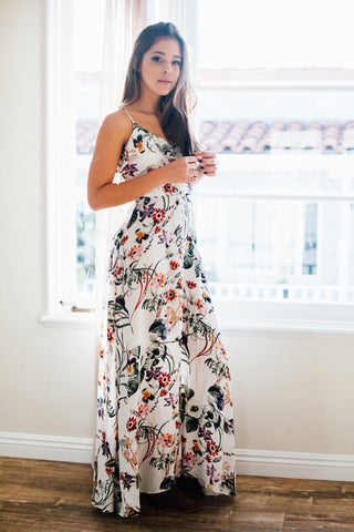 Floral Ruffle Tank Maxi Dress / Ivory
