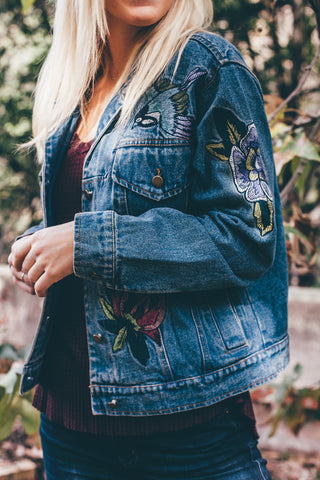 Embroidered Denim Jacket / Medium Wash