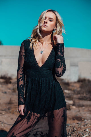 Long Sleeve Sheer Embroidered Lace Maxi Dress / Black