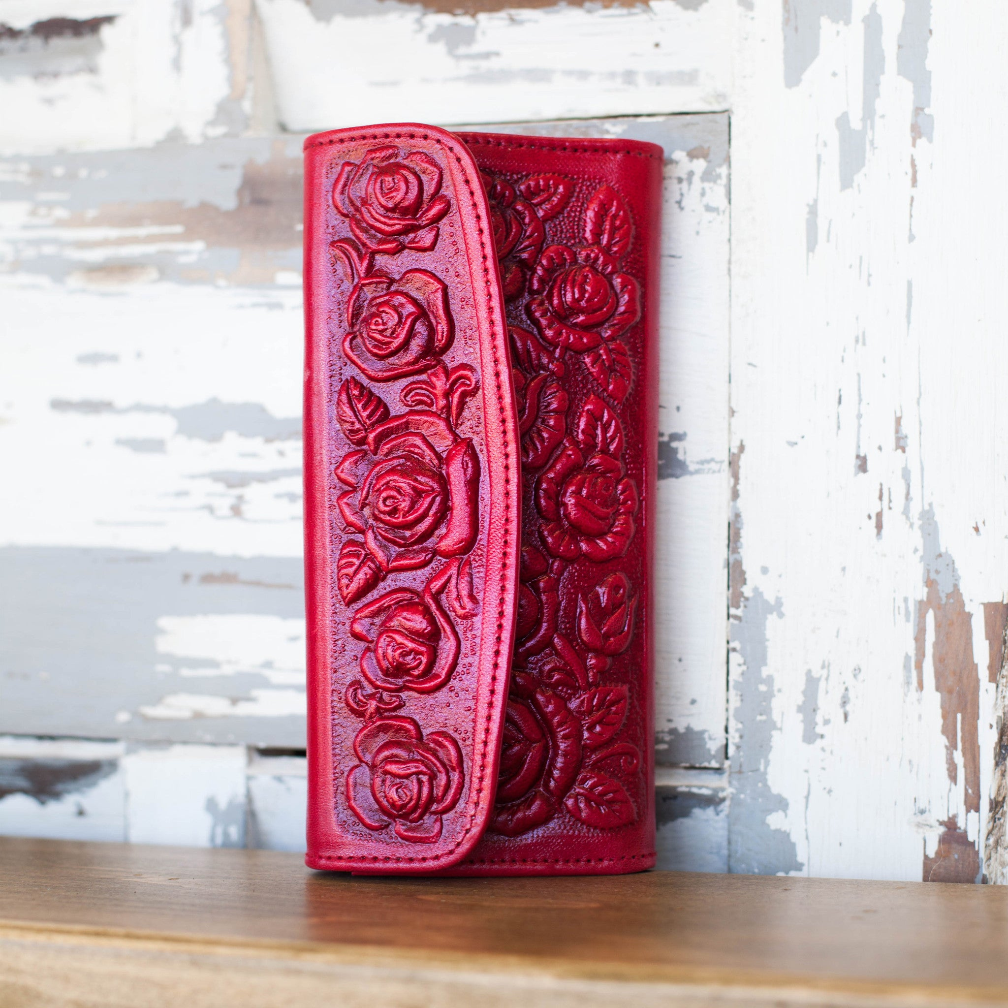 Tooled Leather Wallet / Red