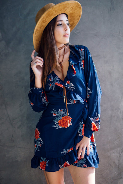 Floral Long Sleeve Wrap Dress / Navy
