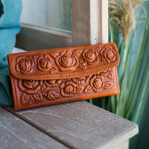 Tooled Leather Wallet / Camel
