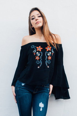 Off The Shoulder Floral Embroidered Bell Sleeve Top / Black