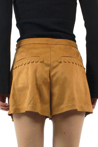Whipstitch Pleat Faux Suede Short / Camel