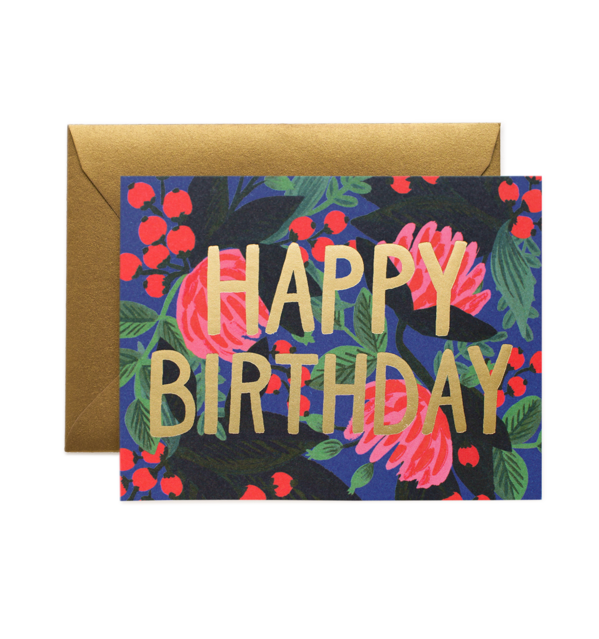 Floral Foiled Happy Birthday Card / Gold Envelope
