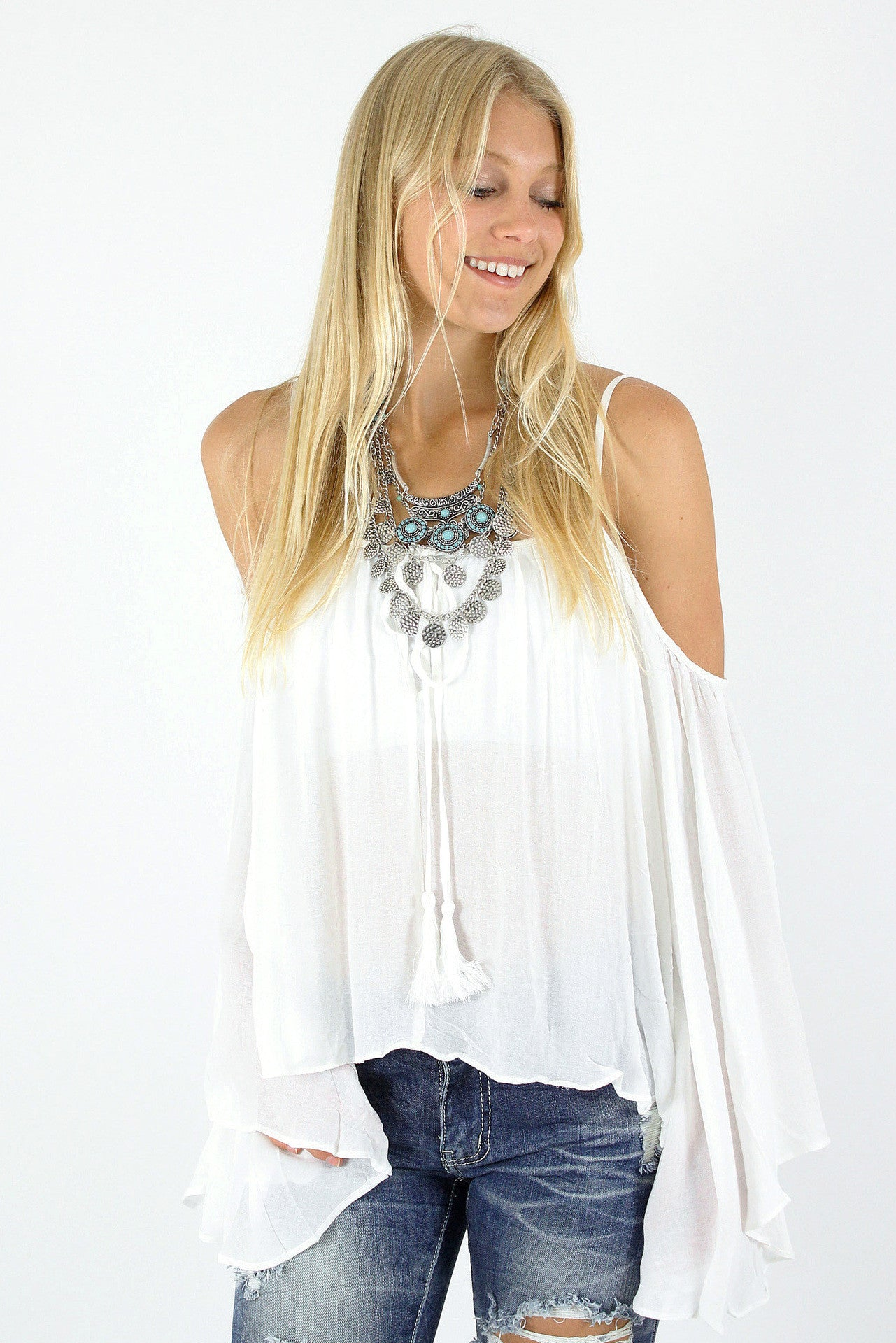 Open Shoulder Bell Sleeve Top / White