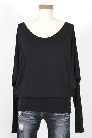 Modal Long Sleeve V-Neck Dolman Top / Black